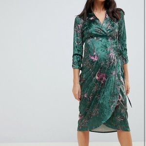 Asos hope and ivy velvet maternity wrap dress